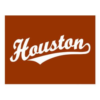 Houston script logo in white postcard