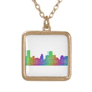 Houston skyline gold plated necklace
