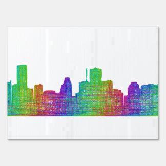 Houston skyline lawn sign