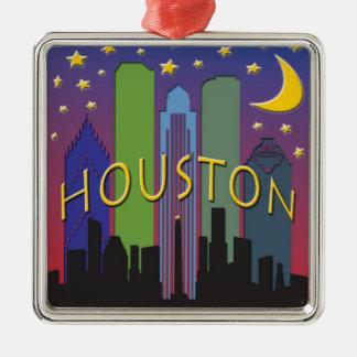 Houston Skyline nightlife Metal Ornament