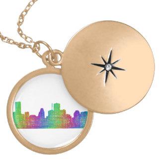 Houston skyline round locket necklace