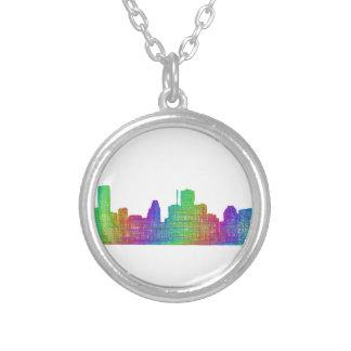 Houston skyline round pendant necklace