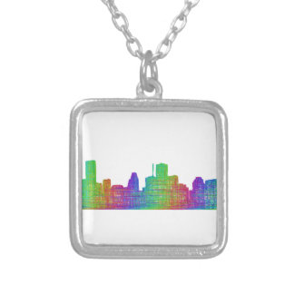 Houston skyline square pendant necklace