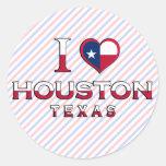 Houston, Tejas Etiquetas Redondas