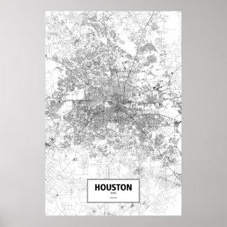 Houston, Texas (black on white) Poster