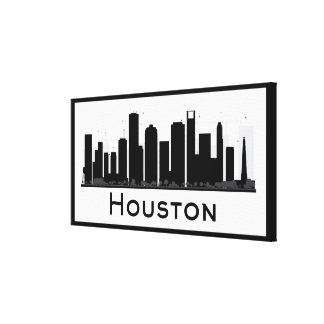 Houston, Texas | Black & White City Skyline Canvas Print