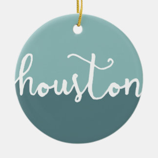 Houston, Texas | Blue Ombre Circle Ceramic Ornament