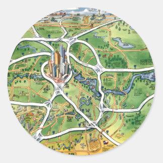 Houston Texas Cartoon Map Classic Round Sticker