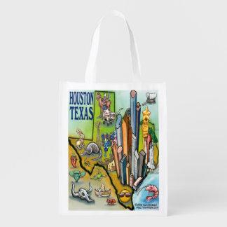 Houston Texas Cartoon Map Reusable Grocery Bag