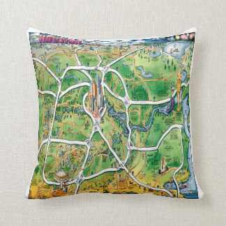 Houston Texas Cartoon Map Throw Pillow