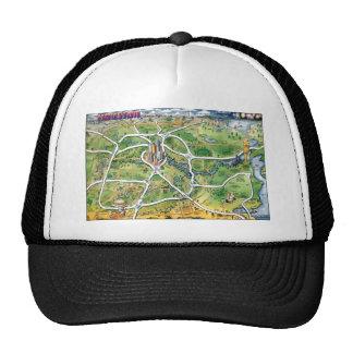 Houston Texas Cartoon Map Trucker Hat