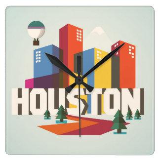 Houston, Texas   Cityscape Design Square Wall Clock