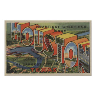 Houston, Texas - Large Letter Scenes 2 Poster