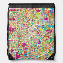 Houston, Texas | Neon Map Drawstring Bag