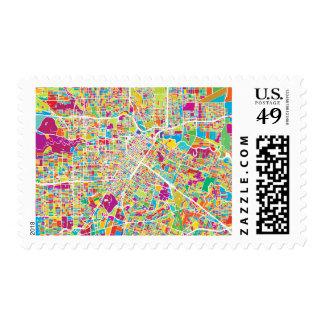 Houston, Texas | Neon Map Postage
