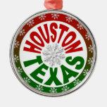 Houston Texas red green snowflake ornament