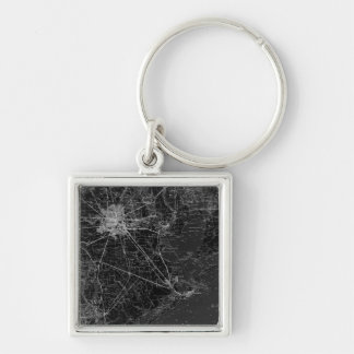 Houston Texas Silver-Colored Square Keychain