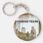 Houston Texas Skyline [Art] (Keychain) Basic Round Button Keychain