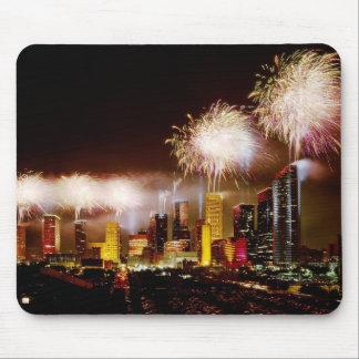 Houston, Texas skyline with fireworks Mousepad