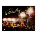 Houston, Texas skyline with fireworks Post Card