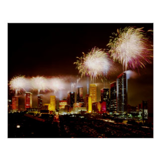 Houston, Texas skyline with fireworks Poster