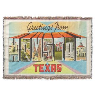 Houston Texas TX Old Vintage Travel Souvenir Throw