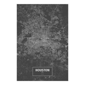 Houston, Texas (white on black) Poster