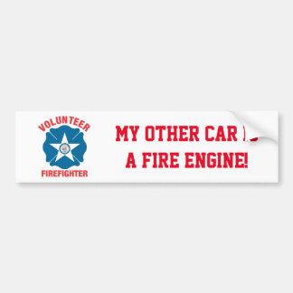 Houston, TX Flag Volunteer Firefighter Cross Bumper Sticker