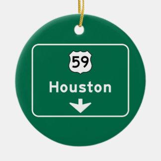 Houston, TX Road Sign Ceramic Ornament