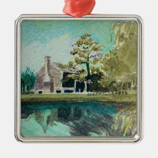 Houston Watercolor, 1825 Old Place Metal Ornament