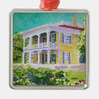 Houston Watercolor, 1850 Nichols-Rice-Cherry House Metal Ornament