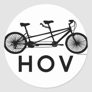 HOV Tandem Bicycle Classic Round Sticker