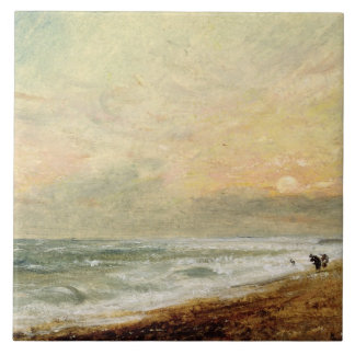 Hove Beach, c.1824 (oil on paper on panel) Large Square Tile