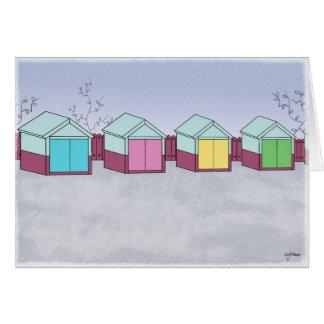 Hove beach huts greeting card