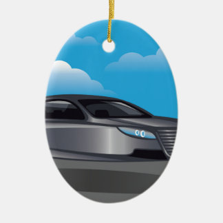 Hover Car vector Ceramic Ornament