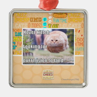 Hover kitteh square metal christmas ornament