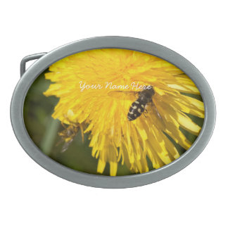 Hoverflies on Dandelions; Customizable Oval Belt Buckles