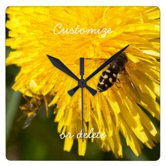 Hoverflies on Dandelions; Customizable Clocks