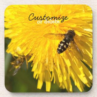 Hoverflies on Dandelions; Customizable Coasters