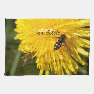 Hoverflies on Dandelions; Customizable Hand Towel