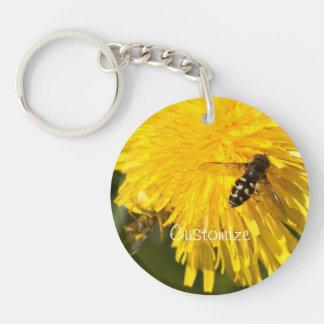 Hoverflies on Dandelions; Customizable Acrylic Key Chain