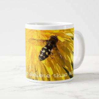 Hoverflies on Dandelions; Customizable Large Coffee Mug