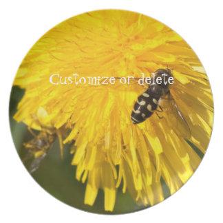 Hoverflies on Dandelions; Customizable Melamine Plate