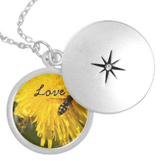 Hoverflies on Dandelions; Customizable Round Locket Necklace