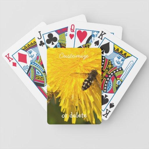 Hoverflies on Dandelions; Customizable Bicycle Card Decks