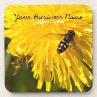 Hoverflies on Dandelions; Promotional Beverage Coasters