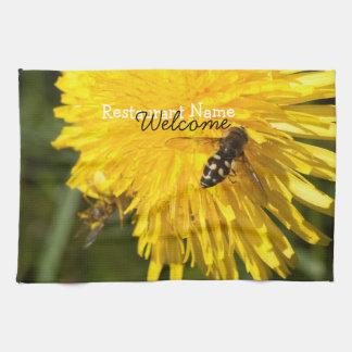 Hoverflies on Dandelions; Promotional Hand Towel