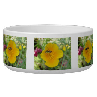 Hoverfly and Californian Poppy Dog Bowl