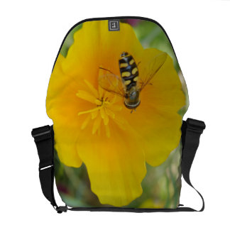 Hoverfly and Californian Poppy Messenger Bag
