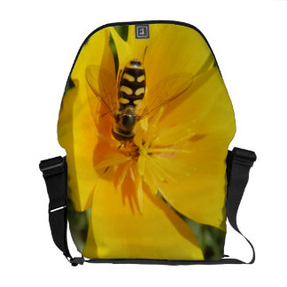 Hoverfly and Flower Messenger Bag